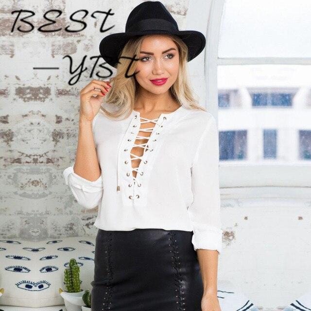 595e2febf120 € 42.74 |2016 Blusas Pecho Correa V cuello de manga larga Camisa Blanca  Femenina Camisa Floja de La Gasa en Blusas y camisas de Ropa de mujer en ...