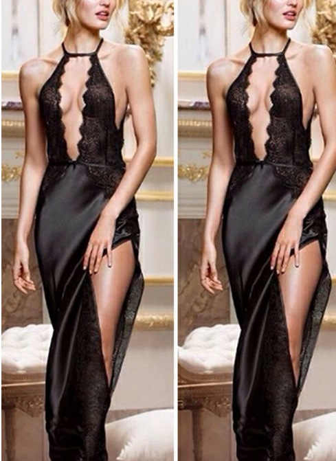 9a88413cdc79f Deep V Neck Spaghetti Strap Open Bra Fork Black Long Satin Dress High Split  Bodycon Women