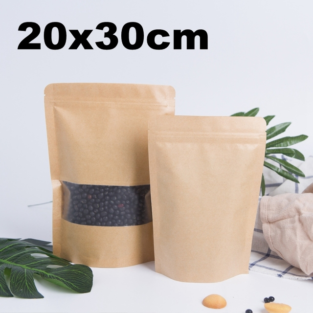 82c2ab577ca4 US $27.06 |50pcs 20x30cm Large Zip Lock Kraft Bag with Frosted Window Paper  Bags Food Packaging Stand Up Pouches Zipper Bag-in Gift Bags & Wrapping ...