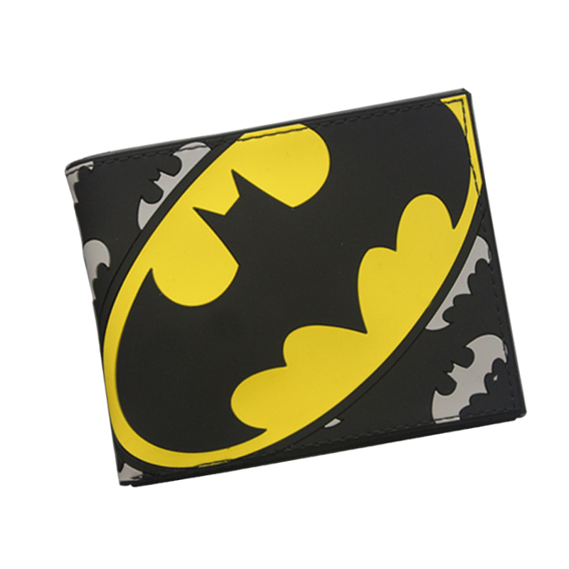 Simple Design Brand Men Wallet Batman Anime Wallet PVC Cute Bat Purse Money Coin Bag For Boy Student Short Super Hero Wallet pixels pacman wallet 3d embossing short purse for student boy girls slim silicone wallet game cartoon designer wallet billeteras