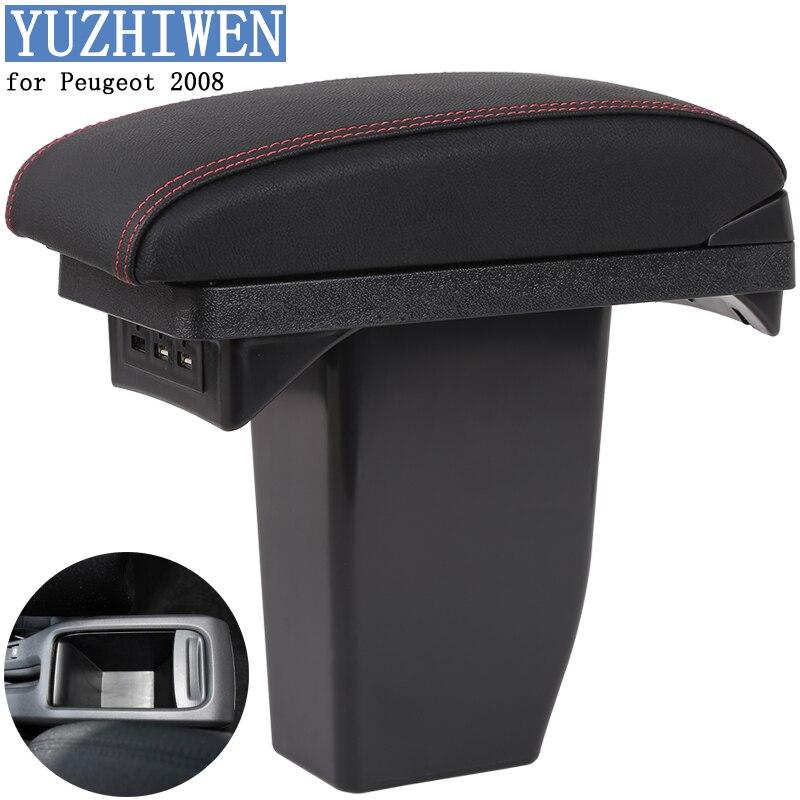 YUZHIWEN for Peugeot 2008 armrest box Peugeot 2008 armrest box Universal Central Storage Box modification font