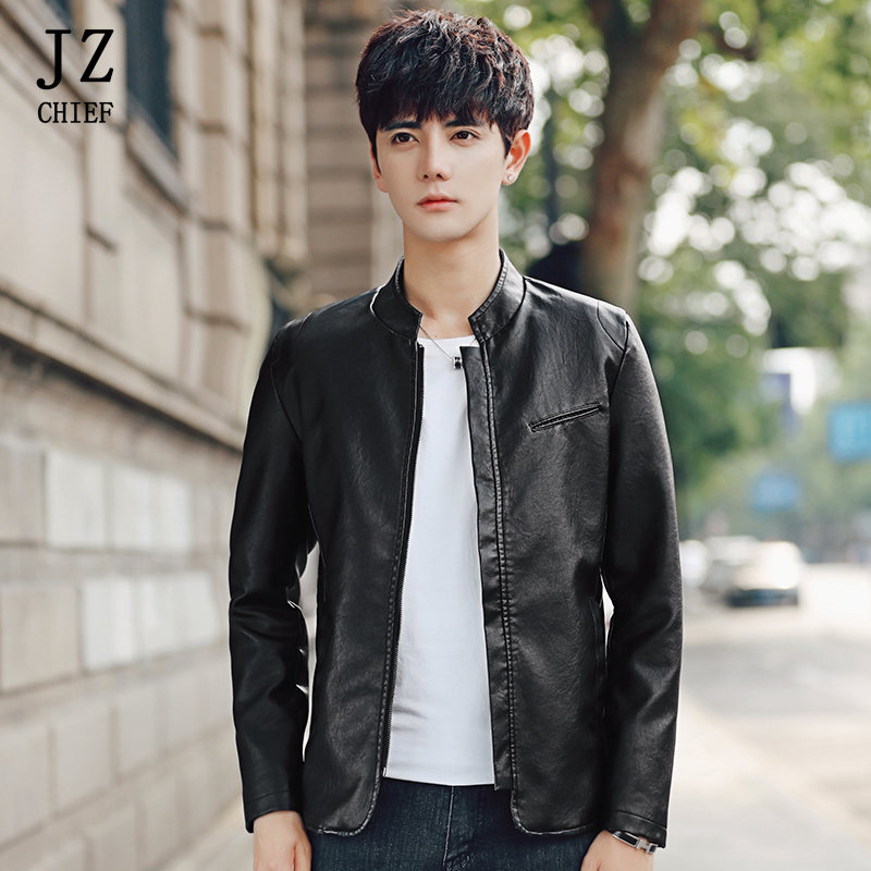 JZ CHIEF Men Spring PU Leather Jacket Stand Collar Motorcycle Leather Jacket Slim Fit Zipper Sleeve Plus Size 5XL Red Blue Black