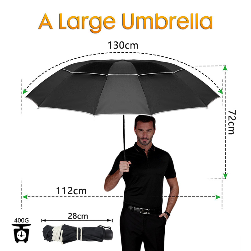 Rain Women Windproof 3Floding Large Male Women Umbrella 1