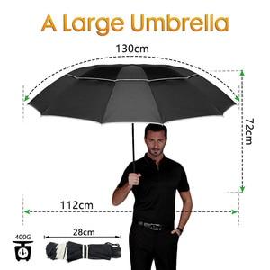 Image 2 - Double Golf Umbrella Rain Women Windproof 3Floding Large Male Women Umbrella Non Automatic Business Umbrella For Men Paraguas