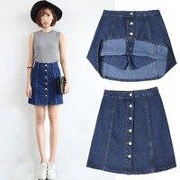 XS XXL Denim Skirt Shorts For Women 2017 Summer A Line Saia Blue Button Fashion Sexy