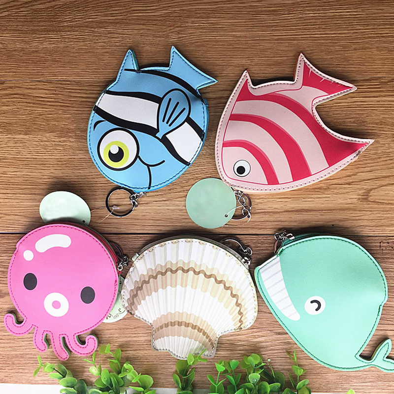 10 piece pack Creative Funny Lovely Coin Purse Ocean Style Small Fish Whale Modeling Coin Bag