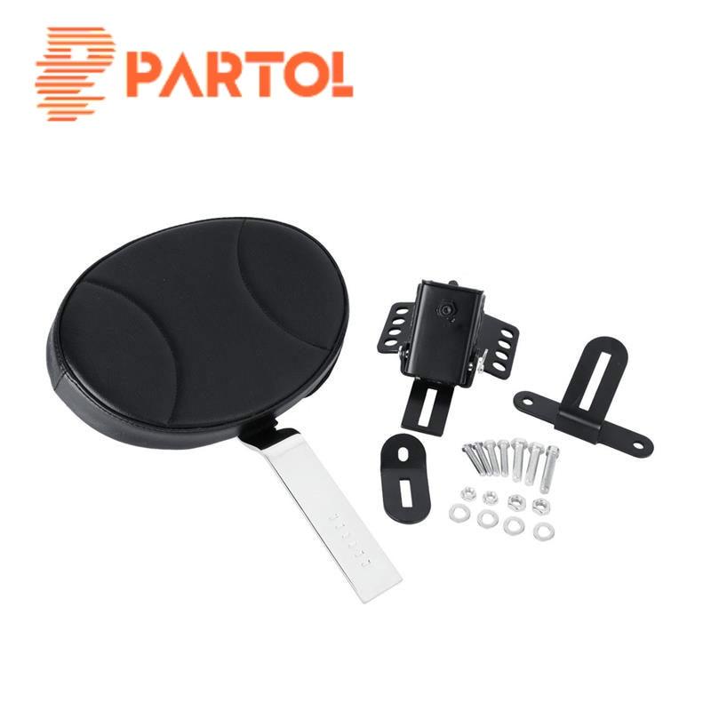 Partol Black Motorcycle Plug-in Adjustable Driver Backrest Kit Rider Backrest For Harley Touring 1997 1998 1999 2000-2016