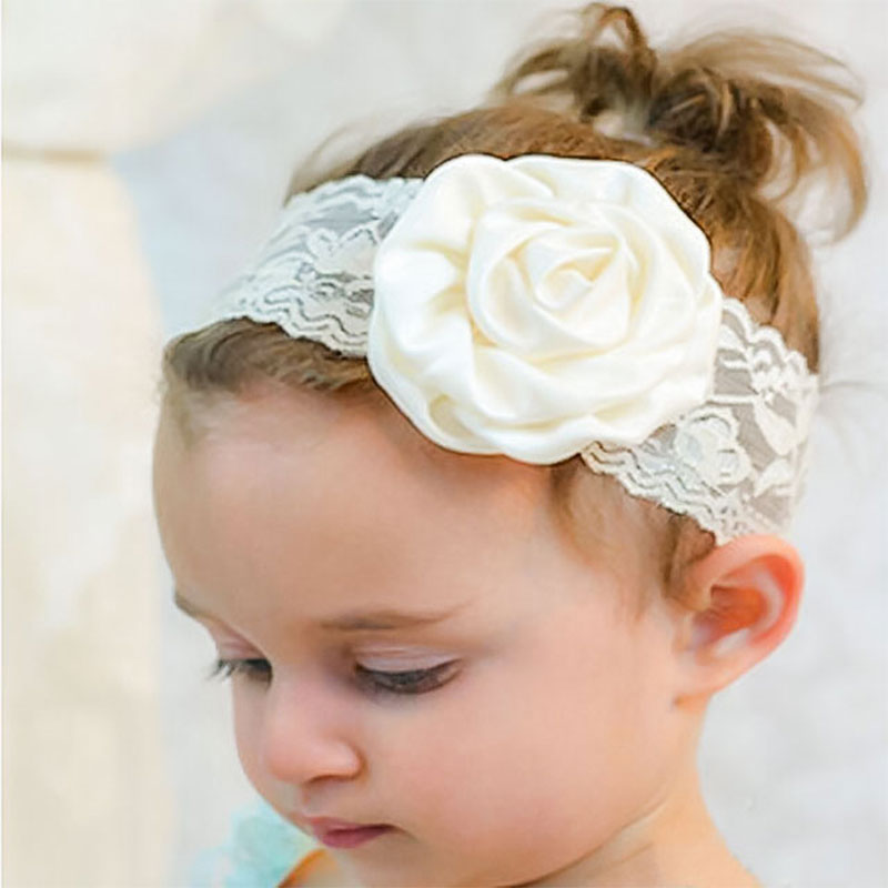 цена на New baby Hair Accessories Candy Colors Girls Headband Rose Flower Girls Hair accessories Lovely Lace Floral Baby Headband