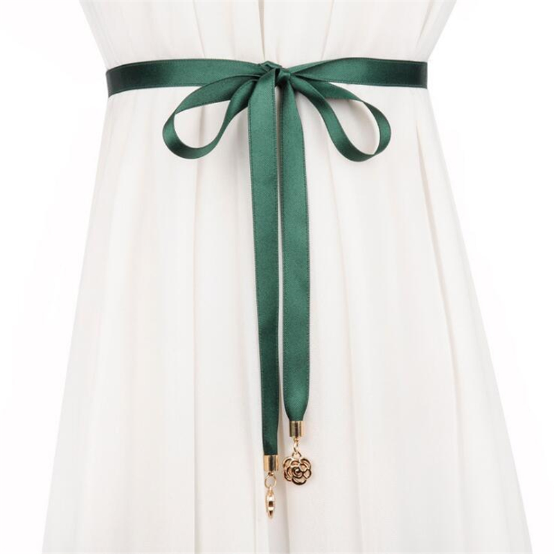 Rose fringed thin belt women's waist rope sweet bow wild decoration with skirt simple waist chain women belt 2019