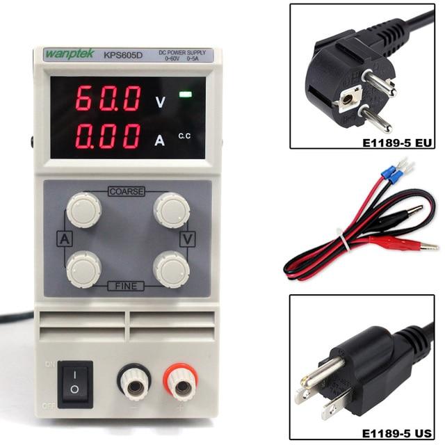 실험실 전원 공급 장치 60 v 5a 단상 가변 smps 디지털 미니 전압 레귤레이터 0.1 v 0.01a kps605d dc 전원 공급 장치