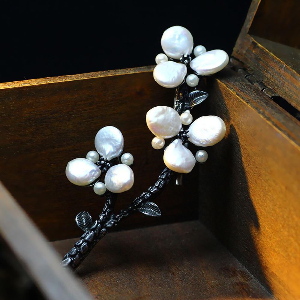 JUJIE Luxus Perlen Blumenbroschen Weibliche Pflanze Kleid Accessoires - Modeschmuck - Foto 3