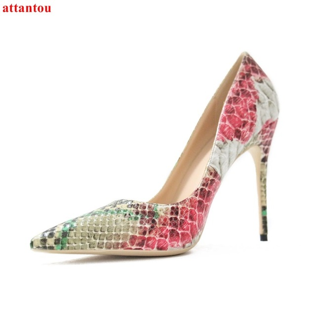 New Arrival pink green mixed color snakeskin Women High Heels Pointed Toe  Female Party Dress Shoes Slip-on Sexy Pumps Stiletto bb3e287170e3