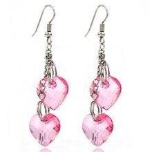 SHUANGR Fashion Heart Shape Pink color Bohemia jewelry Long Earrings dangle earrings For Women Lady's gift brincos