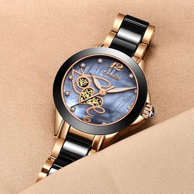 שעון נשי עם רצועה קרמיקה יוקרתי 3