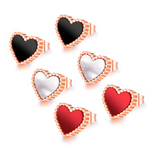 ФОТО black&red&white love heart stud earrings fashion charm jewelry for women rose gold color femme orecchini tiff design 2018 gifts