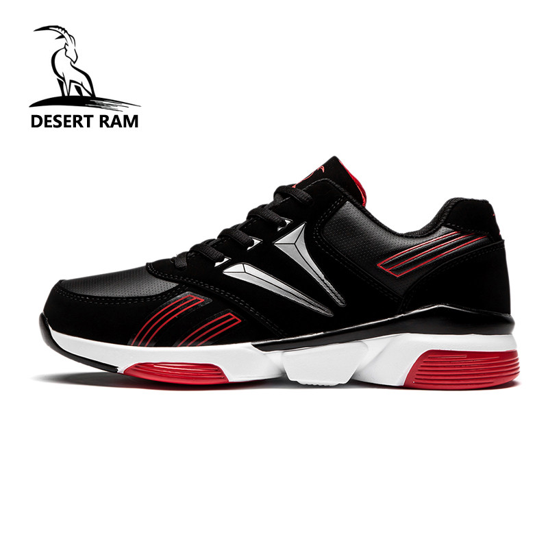 DESERT RAM Brand Spring Autumn Fashion Male Footwear Mesh Leather Lace-Up shoes men High Top Man Sneakers Casual Black Shoe Mens new fashion high top casual shoes for men pu leather lace up all white black color mens casual shoes men high top sneakers