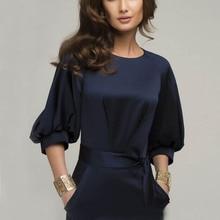 Women Slim Solid vestido Color Bodycon Half Sleeve Blue font b Office b font OL Work