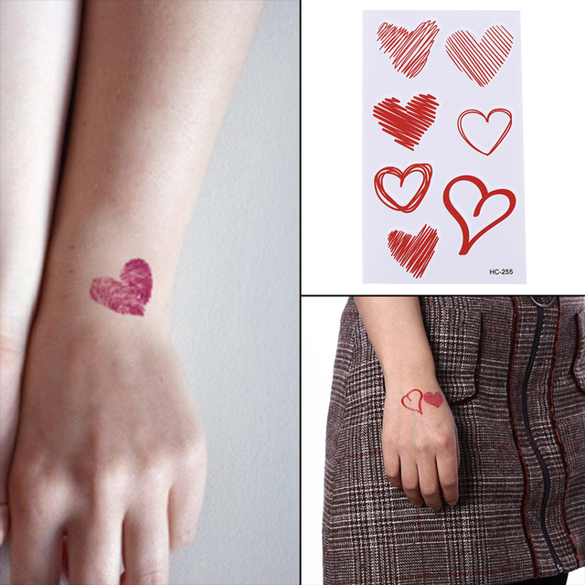 Make Up Tools Waterproof Temporary Fake Tattoo Stickers Pink Black ...