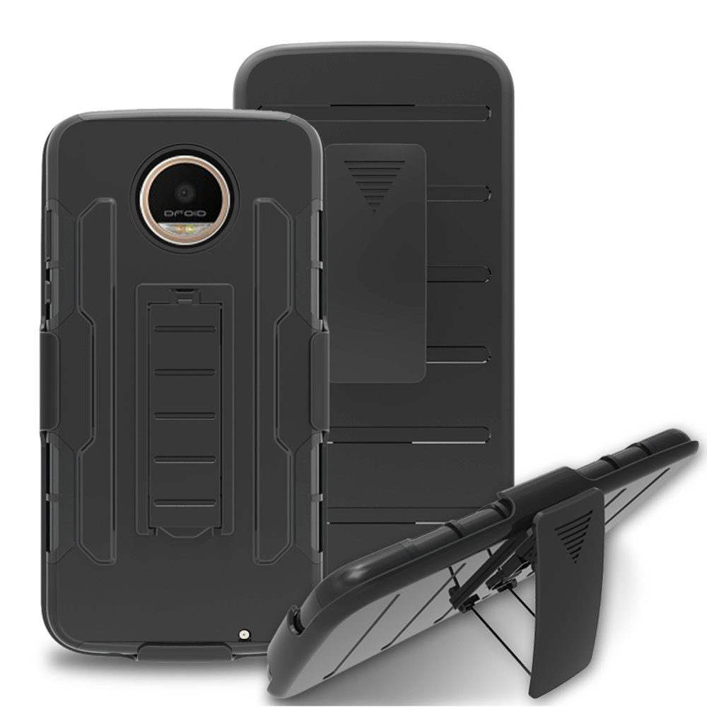 Heavy Duty Anti Shock Hybrid Armor Case With Belt Clip Holster Cover Dual Layer Tough Shell Back Case For Motorola Moto Z2 Force