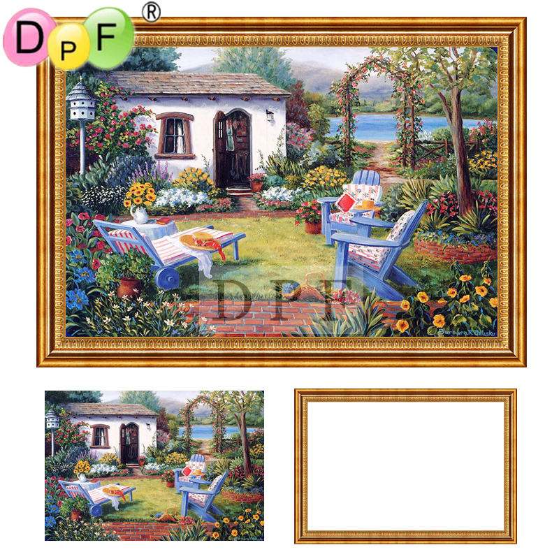 75c079be0f DPF Diamond Embroidery kit back yard 5d Round full Diamond painting Cross  Stitch with Framed Rhinestone home Decor painting