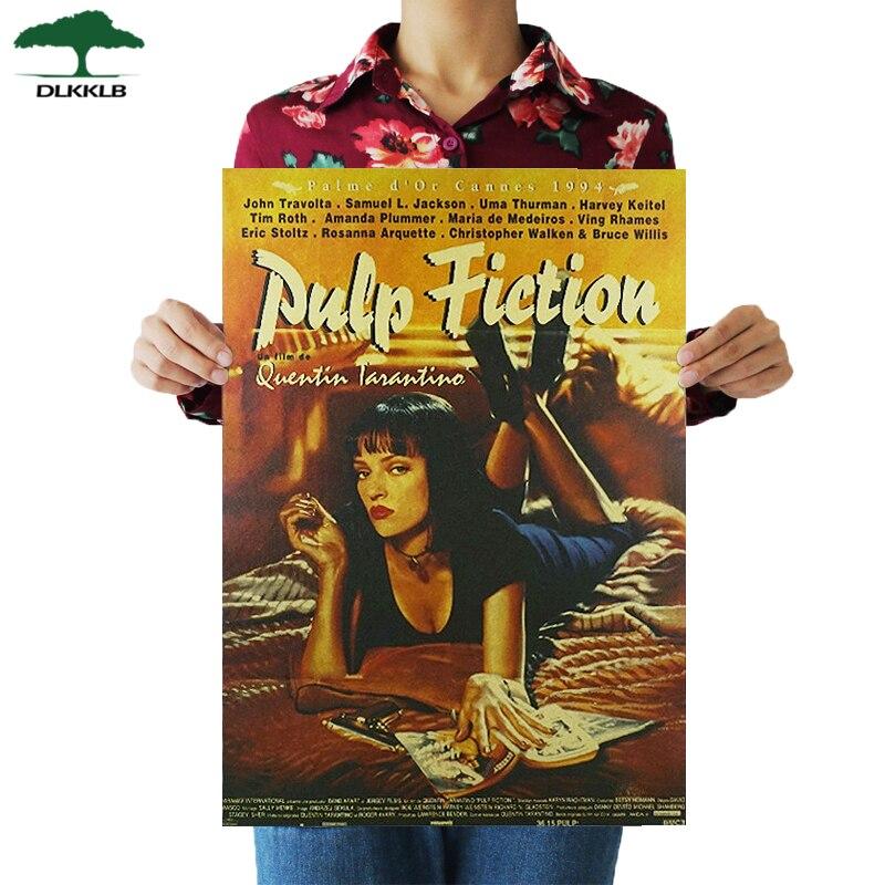 Dlkklb Pulp Fiction Retro Nostalgia Classic Old Movie Poster Kraft Paper Wall Sticker Bar Cafe Home Room Decor