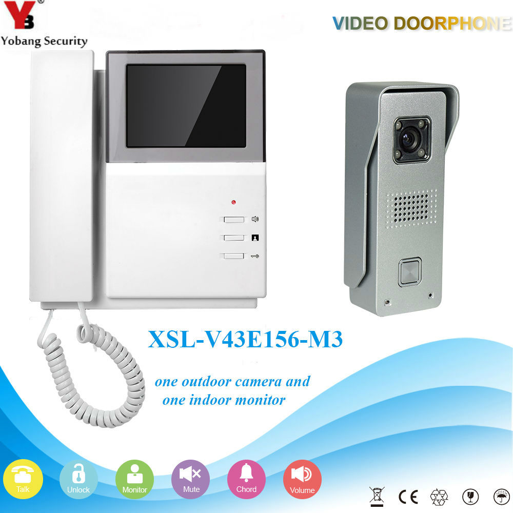 YobangSecurity Video Intercom Monitor 4.3inch Color Video Door Phone Doorbell Entry Inte ...