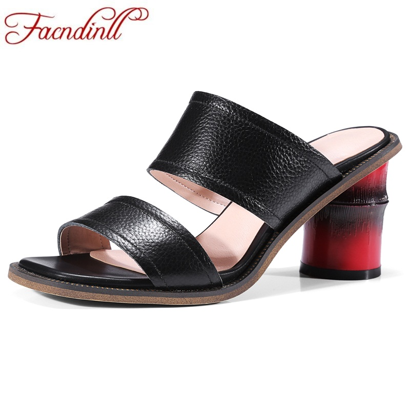 FACNDINLL new shoe 2018 summet brand new women slippers leather sandals women shoes fish head platform high heels women sandals facndinll genuine leather sandals for