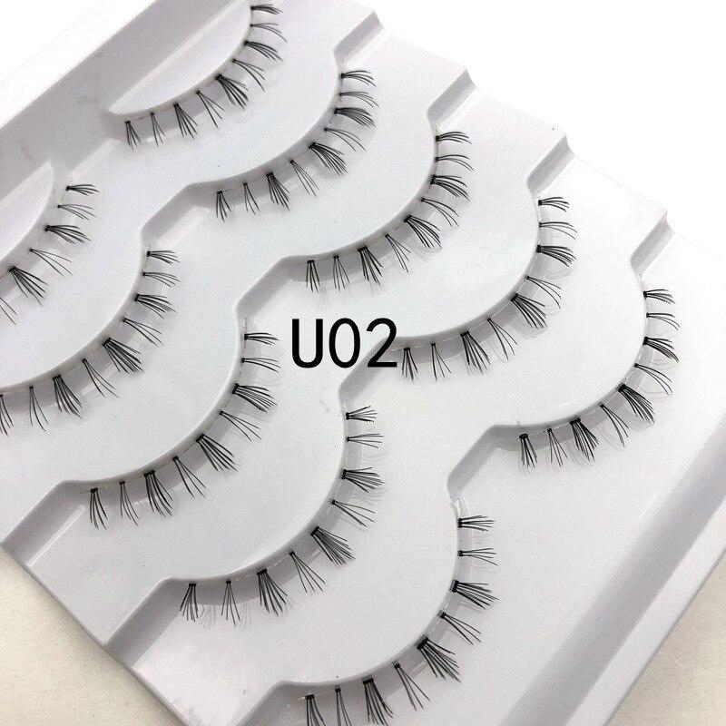 Mikiwi 5pairs U02 Under Lashes Super Soft Clear Band Bottom False Eyelash Transparent Stalk Faux Mink Mellow Lower Lashes