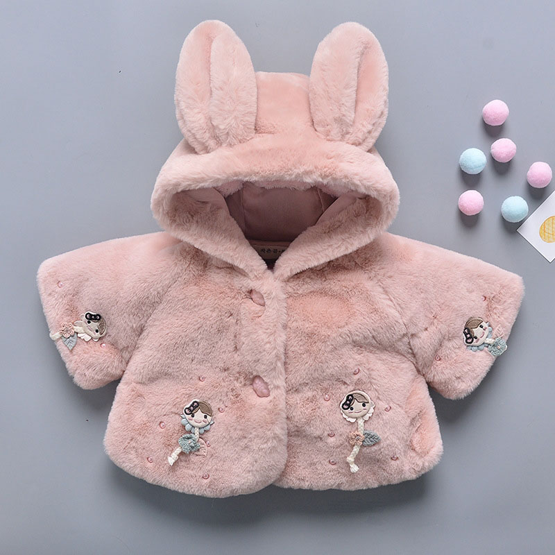 Baby Girl Winter Clothes Fleece Plush Cute Bunny Cartoon