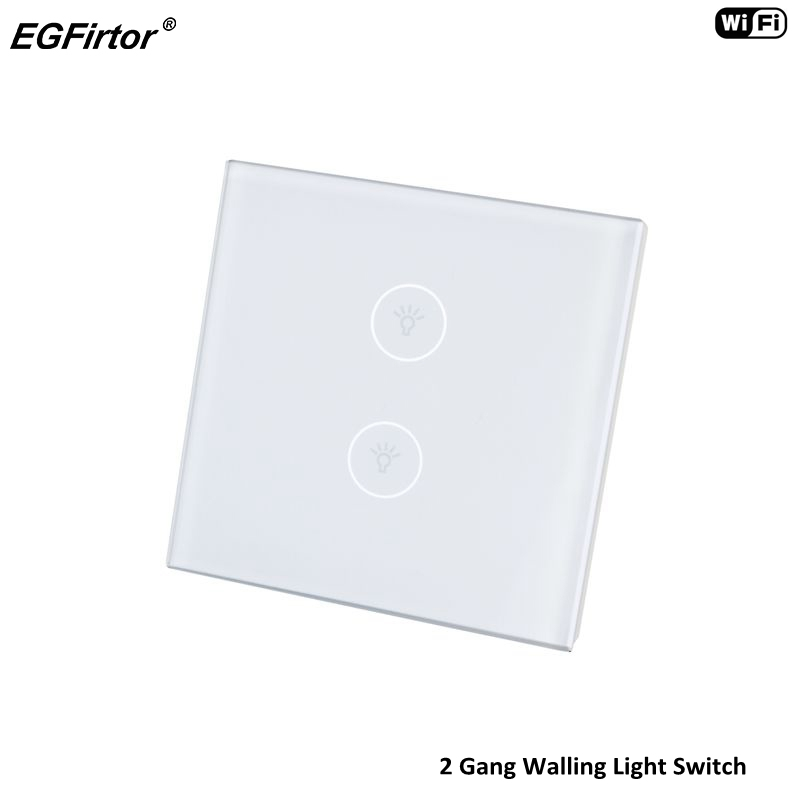 2 Gang WIFI Smart Home Automation Control Touch Wall Light Switch For LED Downlight