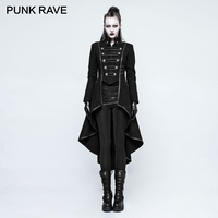 PUNK RAVE Gothic Winter Uniform Asymmetric Buckle Worsted Military Women's Long Coat Halloween Christmas Wool Blends Coats