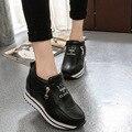 Бесплатная Доставка Женщин Кожаные Туфли На Платформе Зима Высокого Качества для Женщин Повседневная Обувь Slip-On Противоскользящие Теплые Ботинки