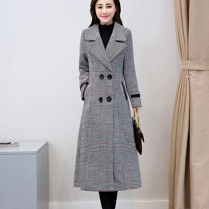 Khaki Veste Automne Mince De Élégant Manteau Plaid Mode Femmes Pr313 gray Vêtements Tempérament Hiver Long Laine 2019 Pour fYwaUq5c