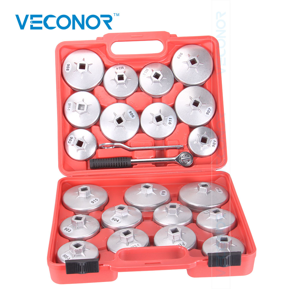 Veconor 23PCS Aluminum Alloy Cup Type Oil Filter Cap Wrench Socket Removal Tool Set 1/2 Dr. With A Red Storage Case 14pcs the key with combination ratchet wrench auto repair set of hand tool kit spanners a set of keys herramientas de mano