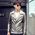 Oblique zipper Retro Printed Faux Leather Jacket For Men 2016 Autumn Winter New Jackets silver color
