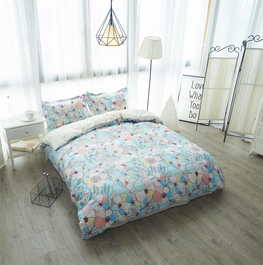 Colorful flower bedding - American Country Flower Bedding Set Adult Teen Cotton Full Queen Colorful Plant Home Textile Bed