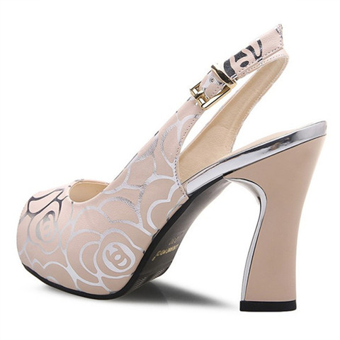 New women fashion pumps high heel office lady causal shoes for summer buckle strap black female square heel peep toe sandals Islamabad