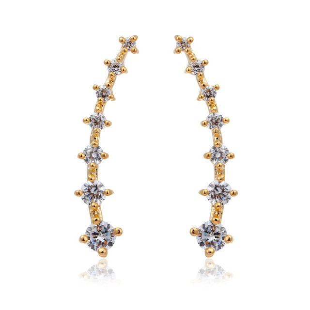 Gold Color Ear Climber Paved Seven Zircon CZ Stones Meteor Star Stud ...