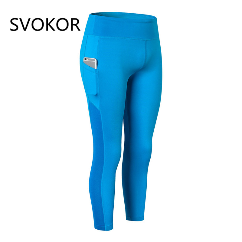 SVOKOR Women Leggings mesh stitching pocket points pants polyester stretch sweat cloth breathable quick-drying leg pants