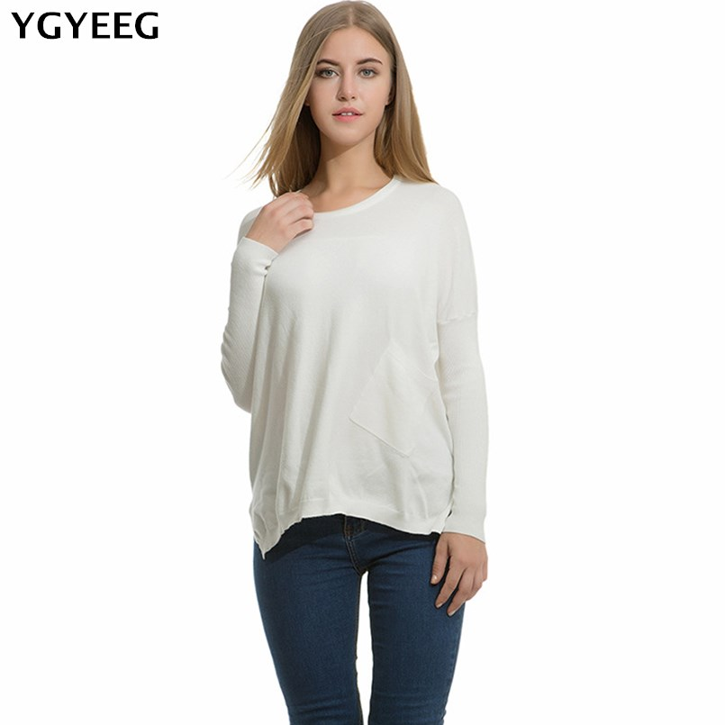 YGYEEG Knitted Oversized Sweater Pockets Pullover Women Sweaters Side Split Autumn Pull Femme 2018 Christmas Sweater O-Neck New