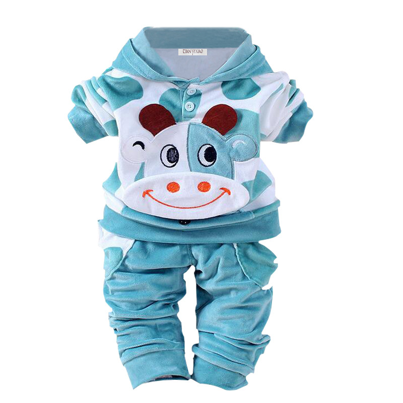 купить Newborn Baby Girls Clothes Set 2017 Autumn Winter Baby Boys Clothes Hoodie+Pants 2pcs Outfits Baby Suit For Infant Clothing онлайн