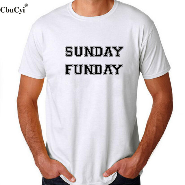 6974c5c30 Sunday Funday Slogan Tshirt Men's Fashion Letters Black White Casual t-shirt  Hipster Blogger Holiday Tee Shirt Homme