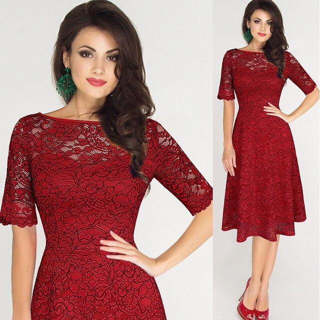 6ddd5802e Mujeres s 1920 s vestidos elegante rojo completo encaje alta calidad corto  Casual fiesta noche túnica