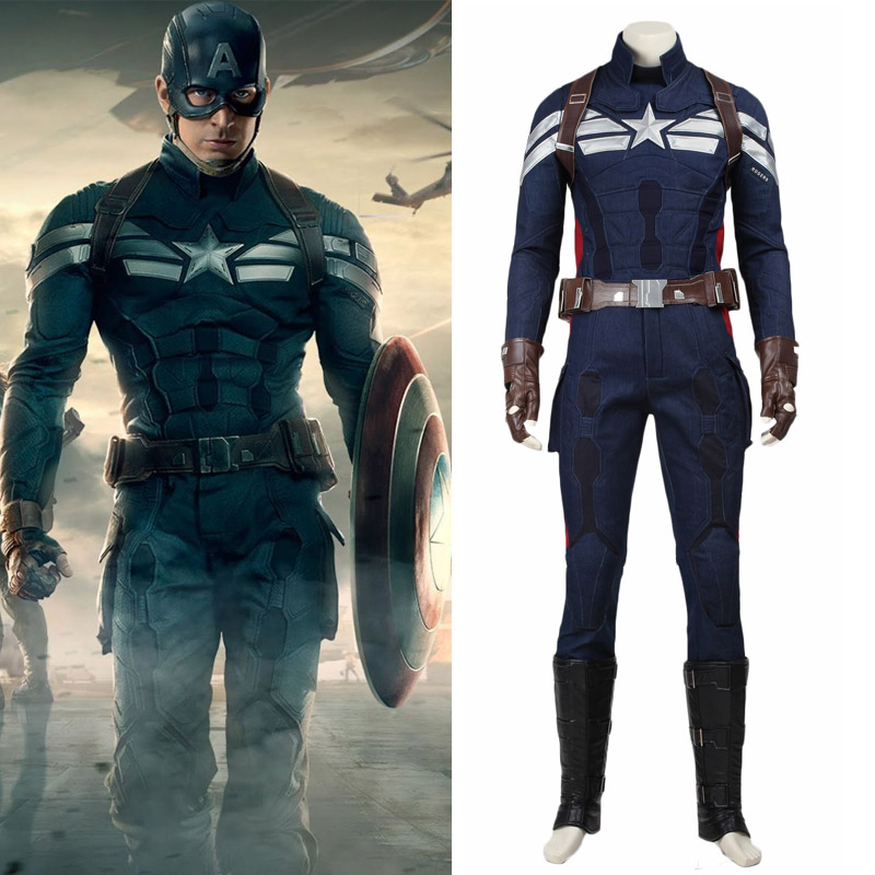 Captain America 2 The Winter Soldier Cosplay Steve Rogers Costume Uniform Superhero Outfit Halloween Carnival Party Custom Made