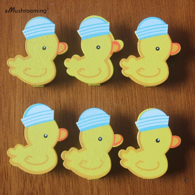6 pieces Cute Mini Duck Wooden Clothe Photo Paper Pegs Clothespin ...