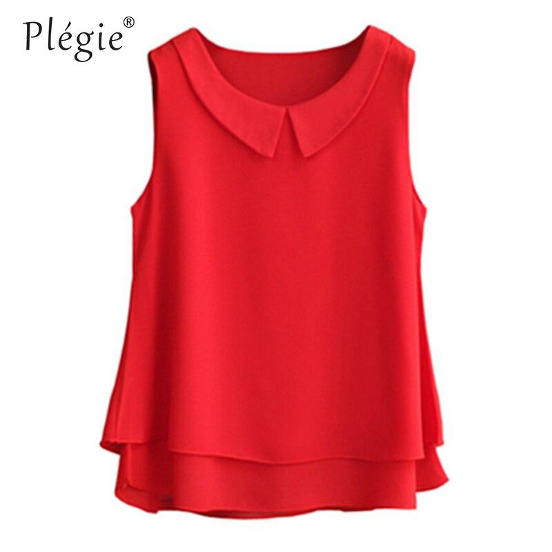 Женские шифоновые рубашки Plegie, Летние повседневные топы больших размеров, S-5XL, без рукавов, тонкая и легкая шифоновая блузка