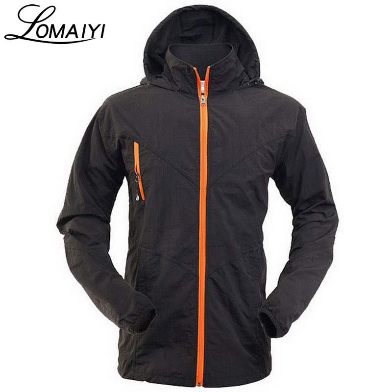 LOMAIYI Anti-Uv Waterproof Male Jacket Men 2017 Summer bernafas kot nipis Hitam Lelaki windbreaker Mens Hooded Jackets, AM099