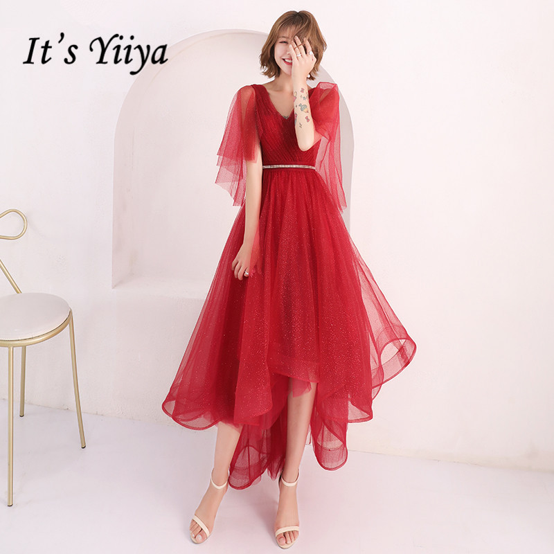 It's YiiYa   Prom     Dress   Red V-neck Asymmetrical Design Party Ball Gown Fashion Short Sleeve Lace Up Formal   Dresses   E133