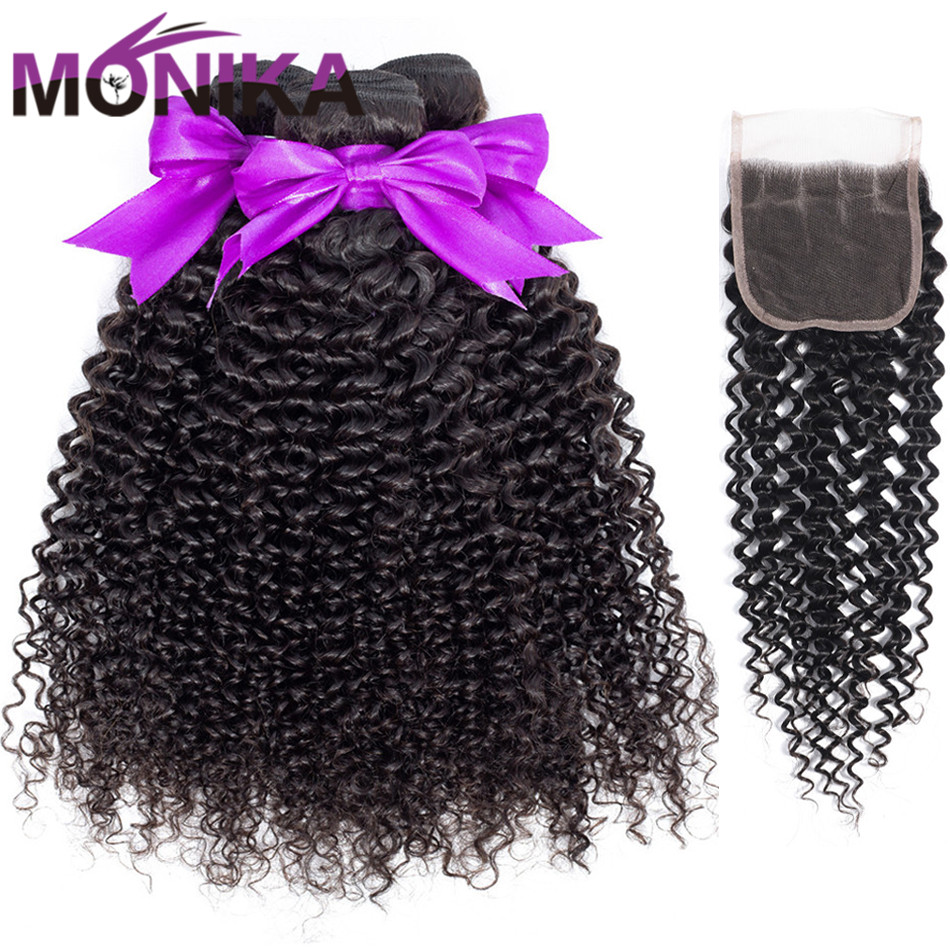 Monika Curly Hair with Closure Non Remy Human Hair Bundles with Closure Tissage Indien Avec Closure