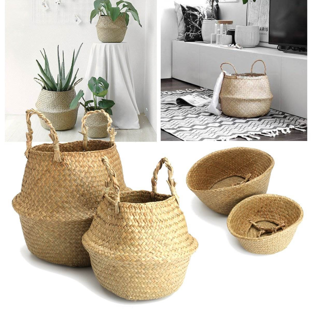 rattan belly basket natural storage basket plant toys laundry storage holder container home plants flower decoration - Decorative Storage Baskets